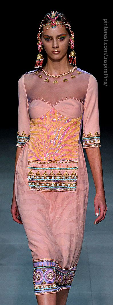 Paris Spring 2013 - Manish Arora : peach Bharat-inspired