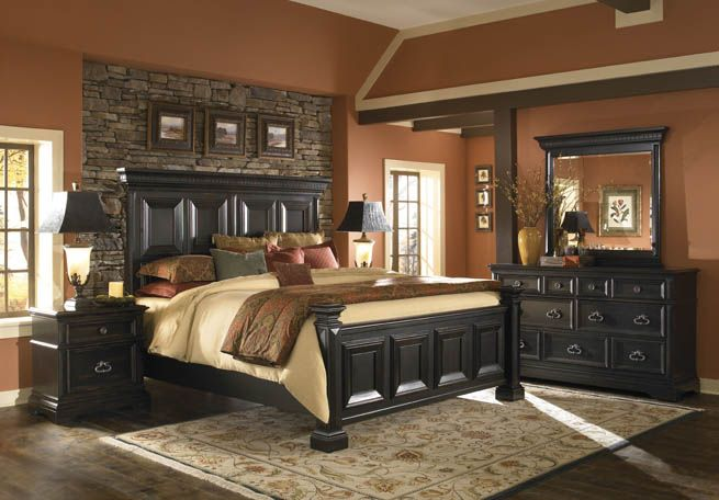 love the stone wallWall Colors, Stones Wall, Bedrooms Sets, Bedroom Sets, King Bedroom, Panels Beds, Master Bedrooms, Bedrooms Furniture, Bedrooms Ideas