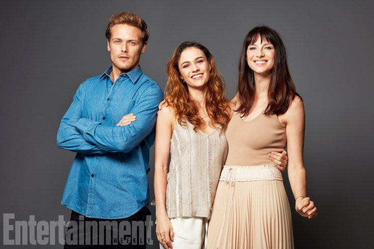Sam Heughan, Sophie Skelton, and Caitriona Balfe
