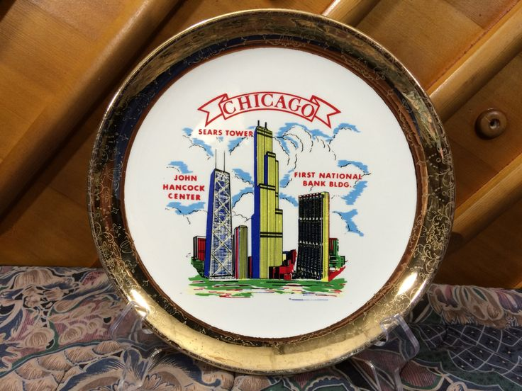 Vintage And Rare Chicago Souvenir Plate Features Sears Tower, John Hancock Center, First National Bank Bldg. Gold Floral Trim by AdoptAKeepsake on Etsy