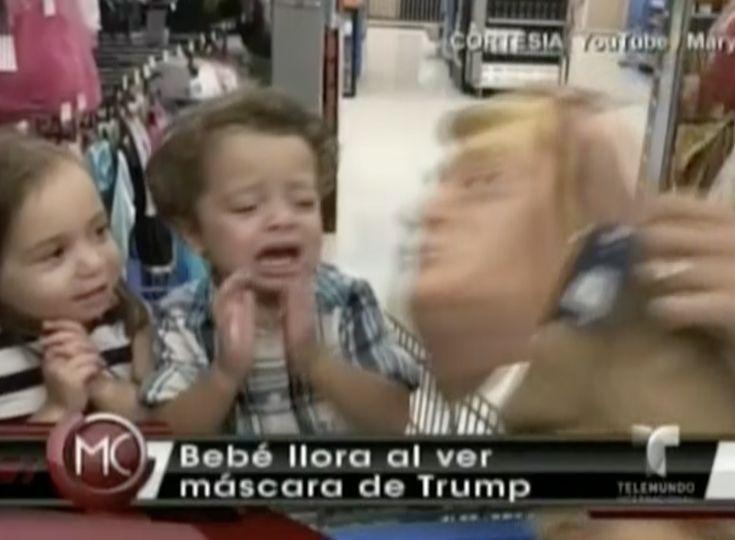 Video Viral. Este bebé llora al ver mascara de Donald Trump