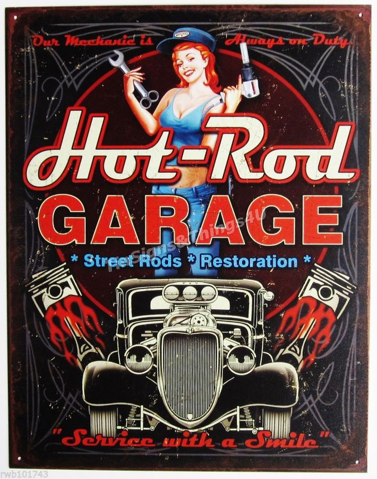 Hot-Rod Garage Pinup Girl TIN SIGN street piston vtg car metal wall decor 1990