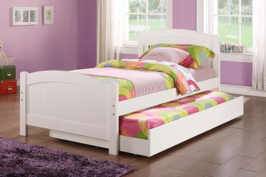 Amazon Com Twin Bed W Trundle In White Color Pine Wood