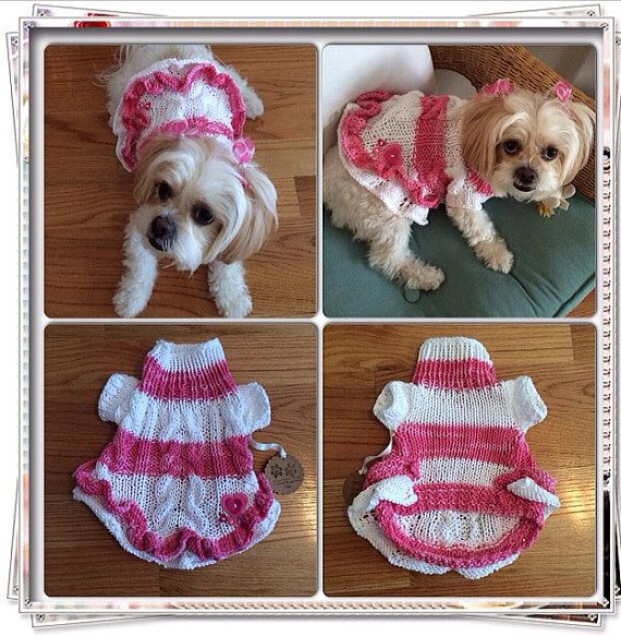 Douglas Dog Knitting Pattern : Sweater with ruffles and hearts by CreatedbyCathe on Etsy, USD40.00 Just for ...
