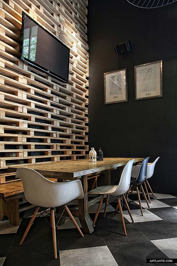 wall with pallets // Musique_Cafe