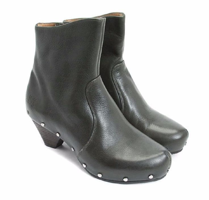 JOHN FLUEVOG SHOES RULES LOW PATTI BOOTS STUDDED CLOG BOOTIES DARK GREEN 7 $399 #JohnFluevog #Booties #Casual