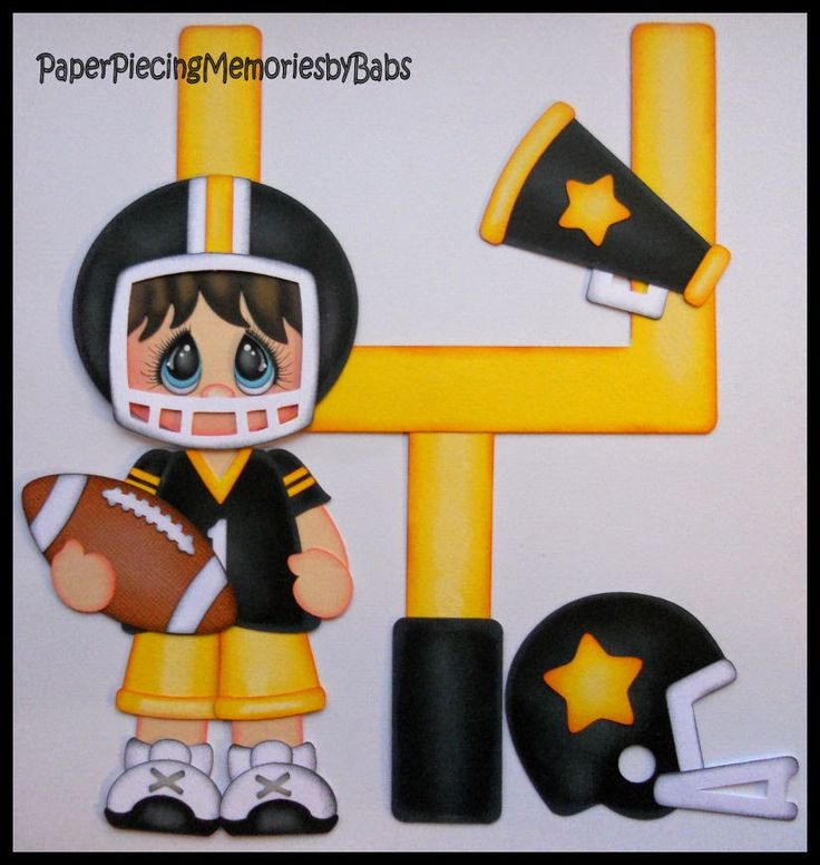 Football paper piecing set created by PAPER PIECING MEMORIES BY BABS, using patterns from Cuddly Cute Designs.