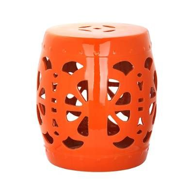 Global influences abound in the glazed Flourish Garden Stool. With its classic Chinese vessel nailheads and lucky coin top motif, this wonderfully unique    stool is perfect as a seat, side table, patio accessory or stand-alone decorative element.            Crafted of 100% ceramic                Suitable for indoor or outdoor use                Open cutouts provide an airy feel                Choose from Aqua and Orange