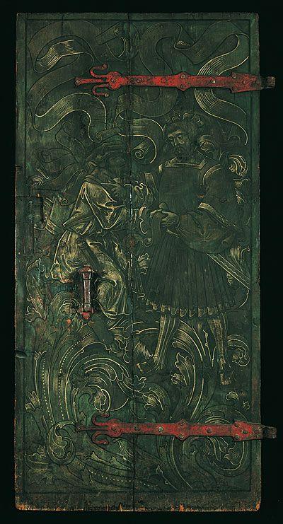 Tür mit Grisaillemalerei, um 1519, Umkreis Niklaus Manuel Deutsch? – Tempera auf Tannenholz. Die bemalte Tür befand sich bis 1950 an einem der ältesten Häuser Freiburgs, wo sie einen Kellereingang schloss. Das Haus gehörte zu Beginn des 16. Jahrhunderts der Familie Englisberg. Dargestellt ist ein sitzender Humanist (?), in einen langen Mantel gehüllt; er weist einen stehenden Edelmann auf seine Hutte hin, aus der Schriftbänder quellen. Die Szene ist rätselhaft.