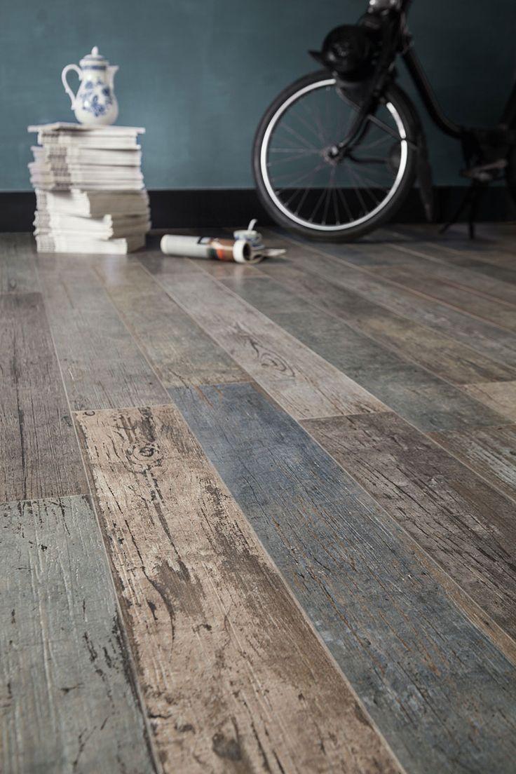 Love this floor tile that looks like weathered wood and has blue hues.  floor tile that %20looks like %20reclaimed %20wood santagostino Wood Look Tile: 17 Distressed, Rustic, Modern Ideas