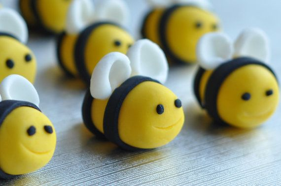A set of 6 handmade sugarpaste - fondant  bubble  bees - edible  cake / cupcake topper - Spring candy via Etsy