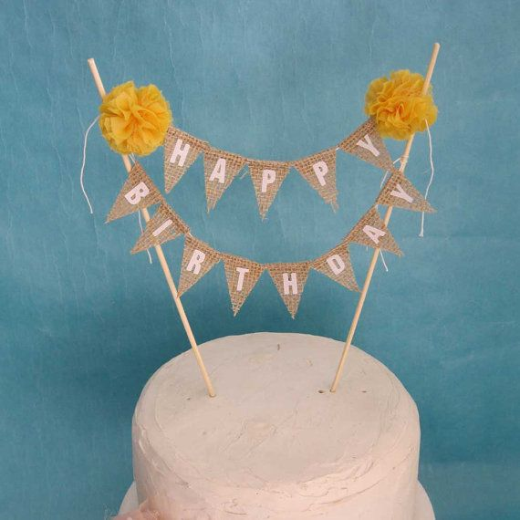 Rustic burlap cake banner Fall Birthday cake by Hartranftdesign, $34.00