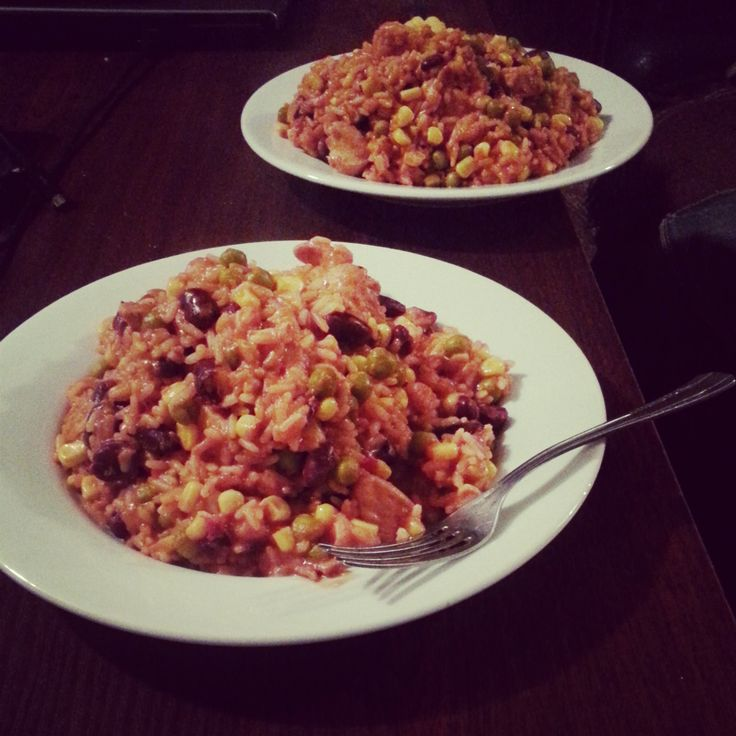 #chicken #rice #corn #green #peas #red #kidney #bean #hot #tomato #sauce #mexican