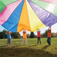 "10 fun parachute games... must try ""tag,"" and ""weather report"" with my preschoolers. (might need a larger parachute)"