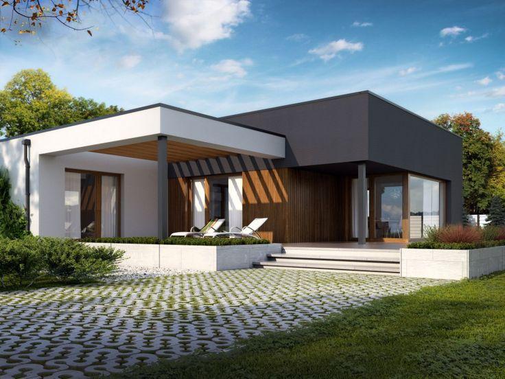 Nowoczesny, parterowy dom jednorodzinny, niepodpiwniczony z dwustanowiskowym garażem. Wyglądem nawiązuje do kalifornijskich willi. Projekt: Artus, Archetyp.