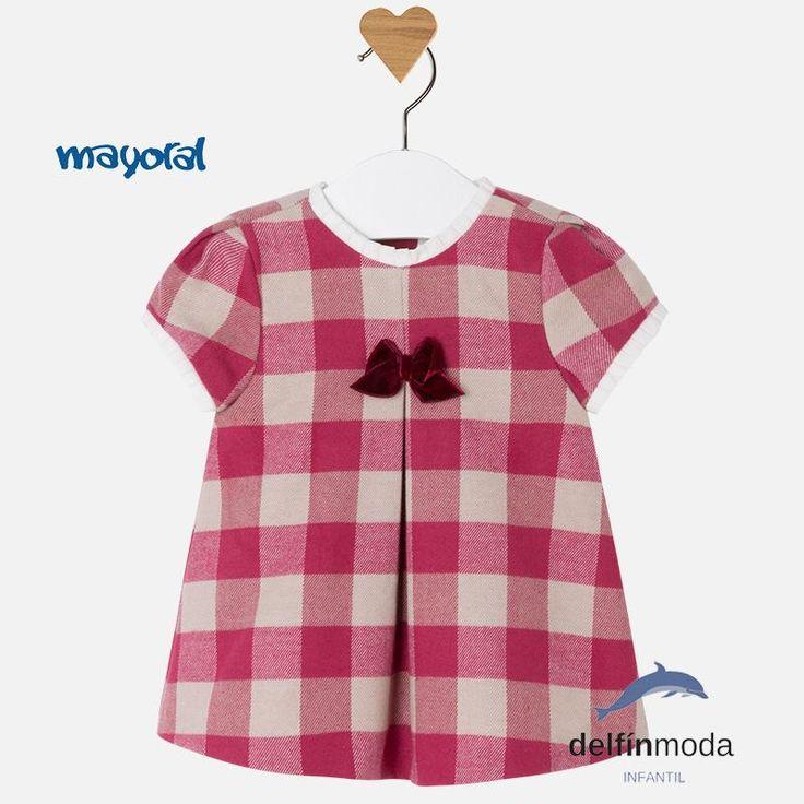 Vestido para bebe MAYORAL newborn cuadros escoces frambuesa