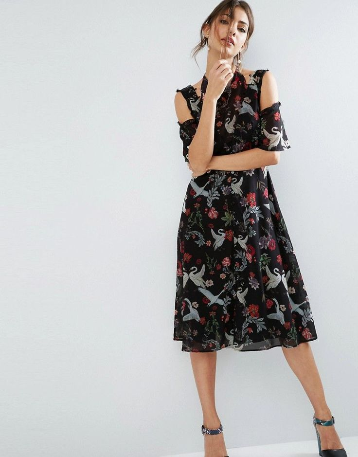 ASOS Midi Dress with Cold Shoulder and Lace Detail in Black Swan Print