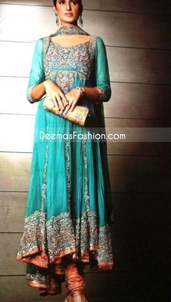 Rust Seagreen Kali Style Heavy Embroidered Border Pure Chiffon Frock    deemasfashion.com