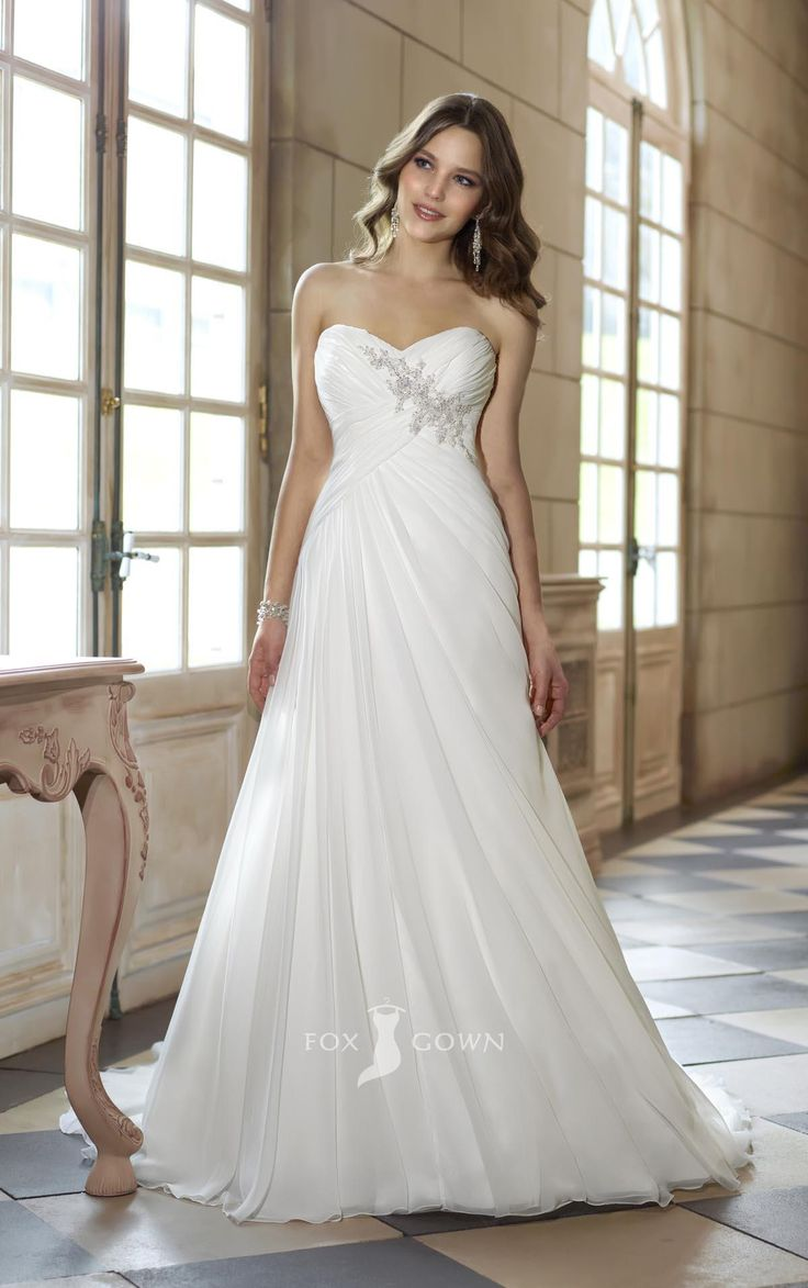 Strapless sweetheart a line empire asymmetrical pleated wedding dress