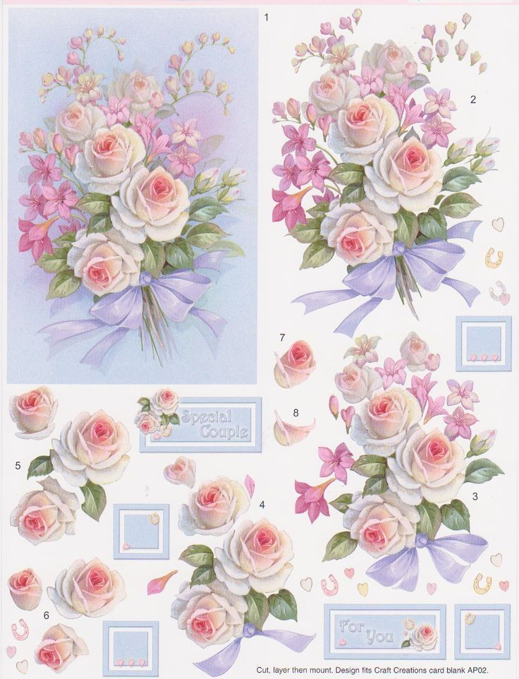 Pale Roses Decoupage SD328
