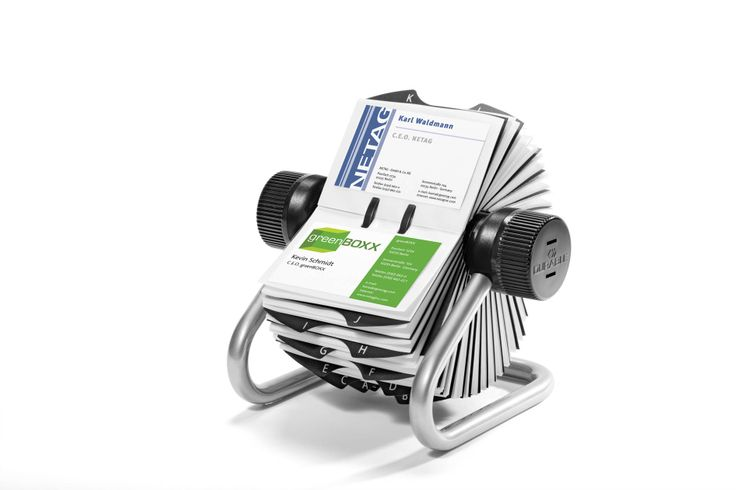 Brand new Rotary Index file for the storage of 400 business cards. Available in two colour choices, black and silver.