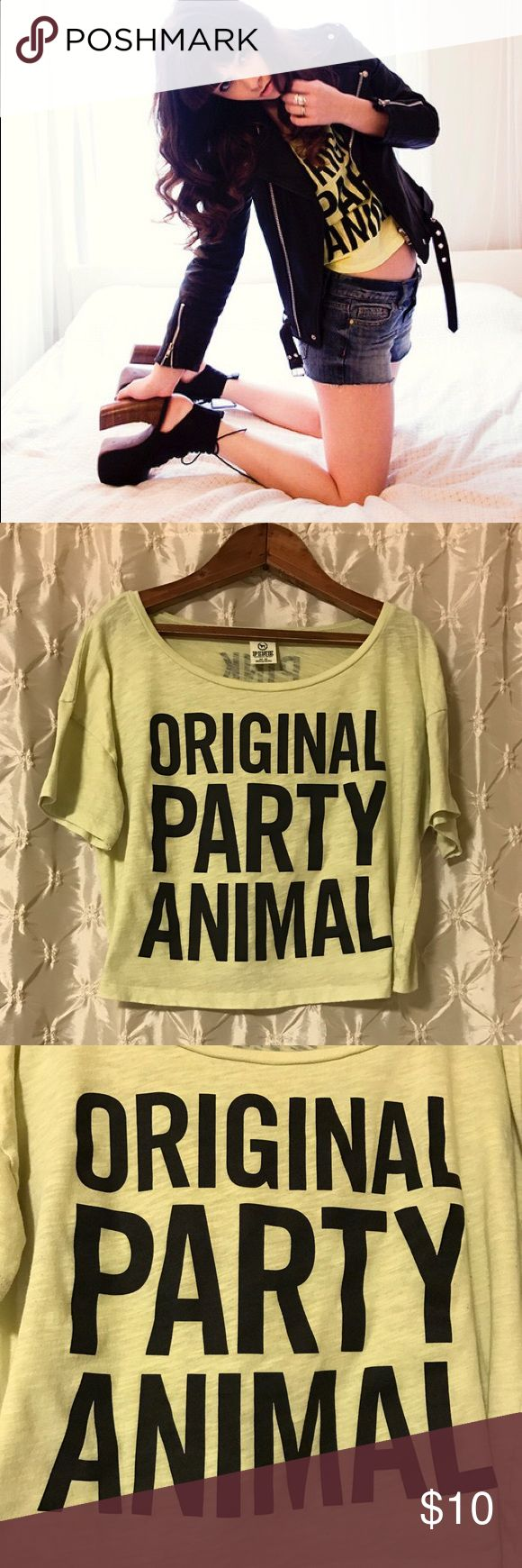 """VS PINK """"original party animal"""" cropped tee You're looking at a preloved Victoria's Secret PINK tee in size medium. Yellow/ lime green color with the print """"original party animal."""" Cropped/slouchy style. Lightweight. Shoulder to hem 17.5"""". Preloved condition with some pilling. See pic. 💚offers 💚20% off discount on bundles PINK Victoria's Secret Tops Crop Tops"""