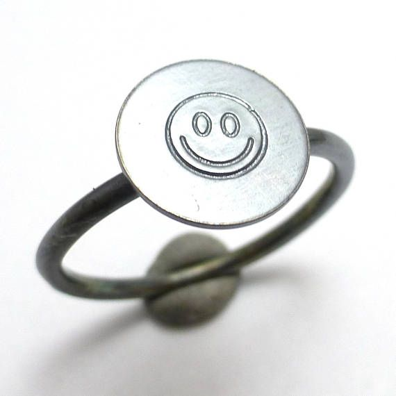 Happy Face Emoticon Emoji Icon Stacking Ring Oxidized Sterling