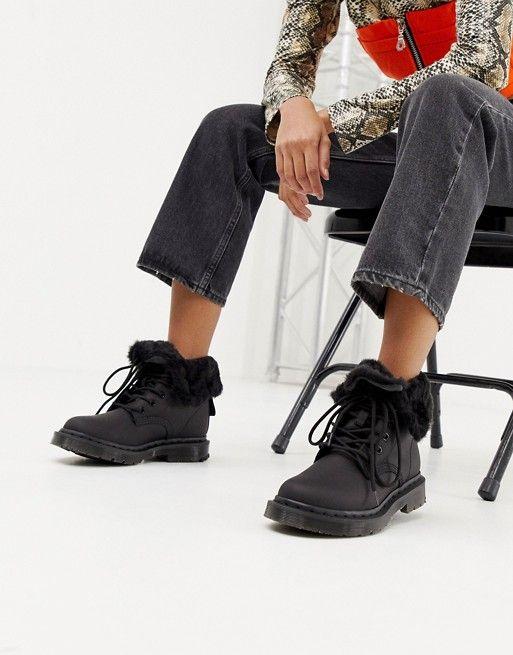 Black Ankle 1460 Snowgrip Flat Leather Kolbert Martens Boots In Dr vN0On8wm