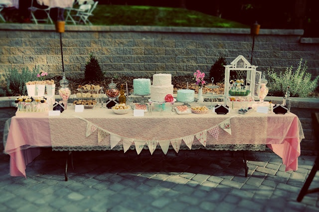 Table with organza and lace on top of a pastel tableclothChic 1St, Vintage Shabby Chic, Tables Sets, Engagement Parties, 1St Birthday, Vintage Parties, Parties Ideas, Parties Tables, Cake Tables