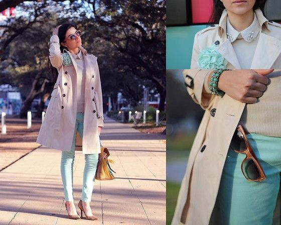 springtime=pastel time: Blue Skinny Jeans, Spring Summ Style, Tiffany Jewelry, Outfits, Colors Combos, Soft Colors, Breakfast At Tiffany, Blue Skinnies, Trench Coats