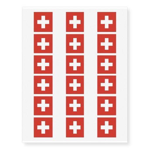 Swiss flag temporary tattoos