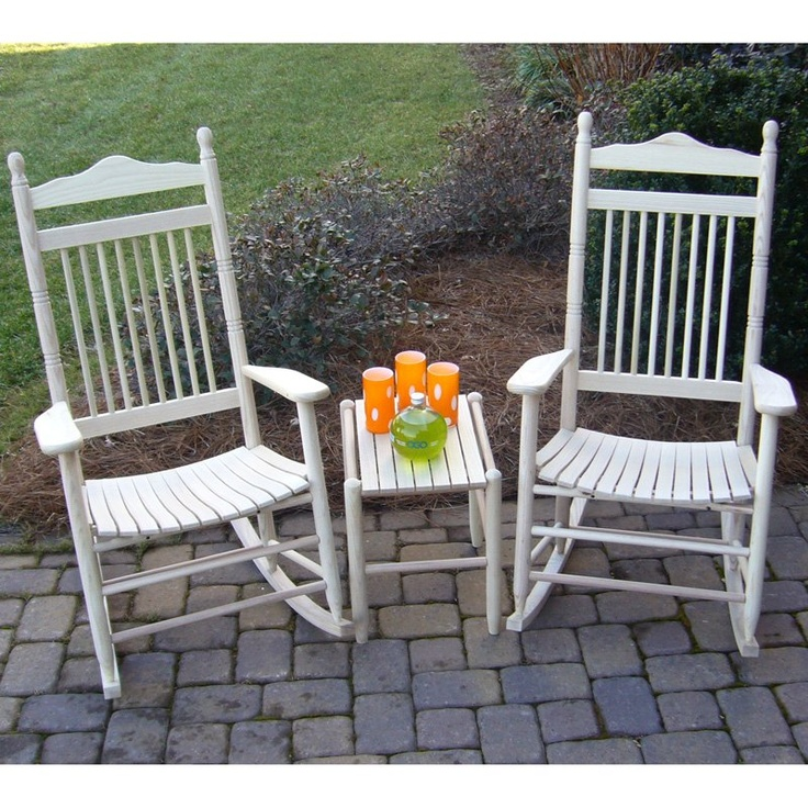 Dixie Seating Spindle Rocking Chair Set With FREE Side Table   Unfinished