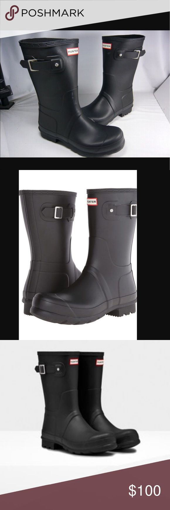 Hunter Men's Rain Boots Hunter is one of the best rain boots brands in the world. The boot is Brand new with the box. Good rich looking black rain boot. Hunter Boots Shoes Boots
