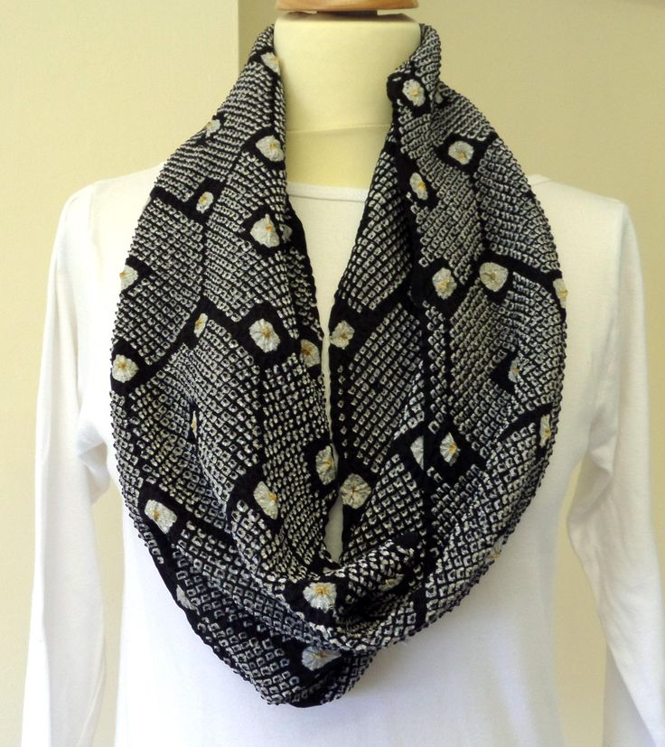 """S145 Limited edition! Japanese Kimono Shibori Silk """"LOOP"""" scarf; Black/silver/gold super soft, 82cm/30"""":soft;special;formal;chic;relaxed by LizzieHuxtable on Etsy"""
