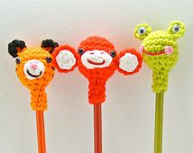 Pencil Pals - Crocheted Pencil toppers to make writing much more fun - Set of Three- Tiger/Monkey/Frog