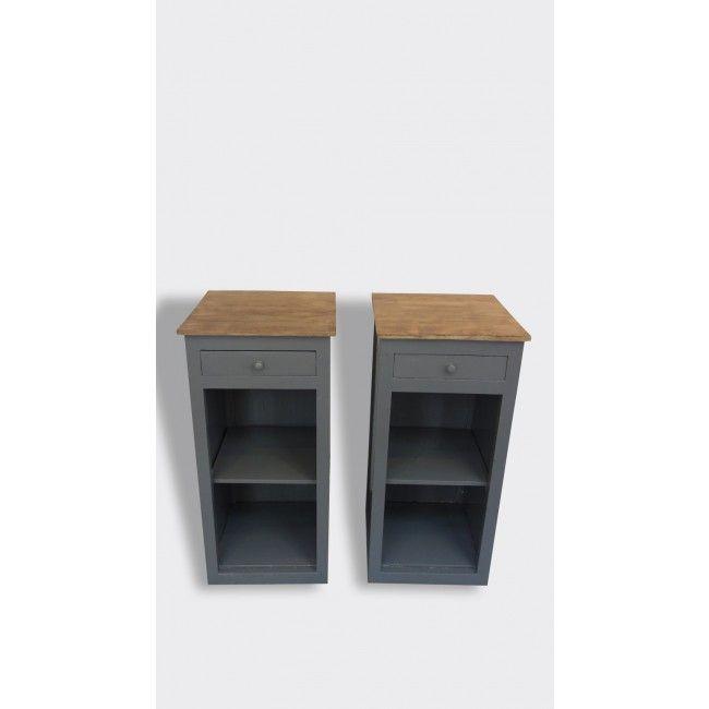 Délicieux Petite Table De Chevet #1: Lot De Deux Tables De Chevet En Bois - Bois (Matériau) - Gris - Dans Son  Jus - Vintage - 6608