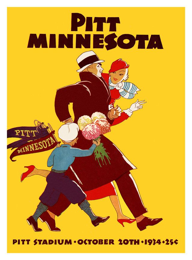 1934 Pittsburgh Panthers vs Minnesota Golden Gophers 36 x 48 Canvas Historic Football Print