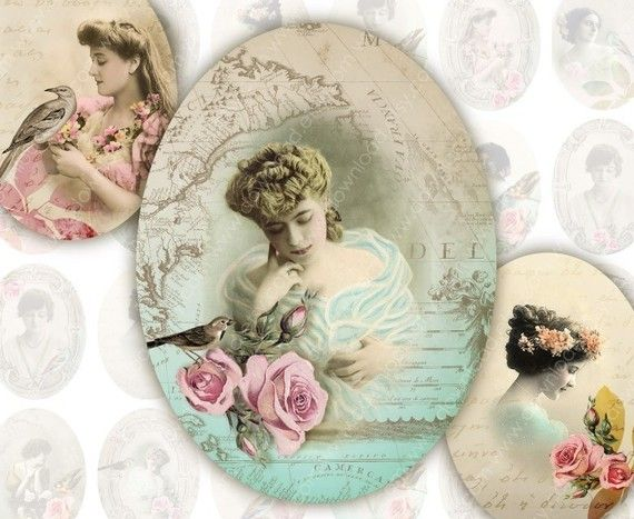Ladies 30x40mm Ovals for Pendants, Digital Collage Sheet, Download and Print…