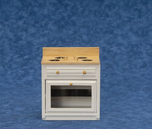 Modern Kitchen Stove - White with Wood