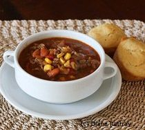 Taco Soup Recipe- I added more water, an additional can of Rotel, and a can of garbanzo beans.