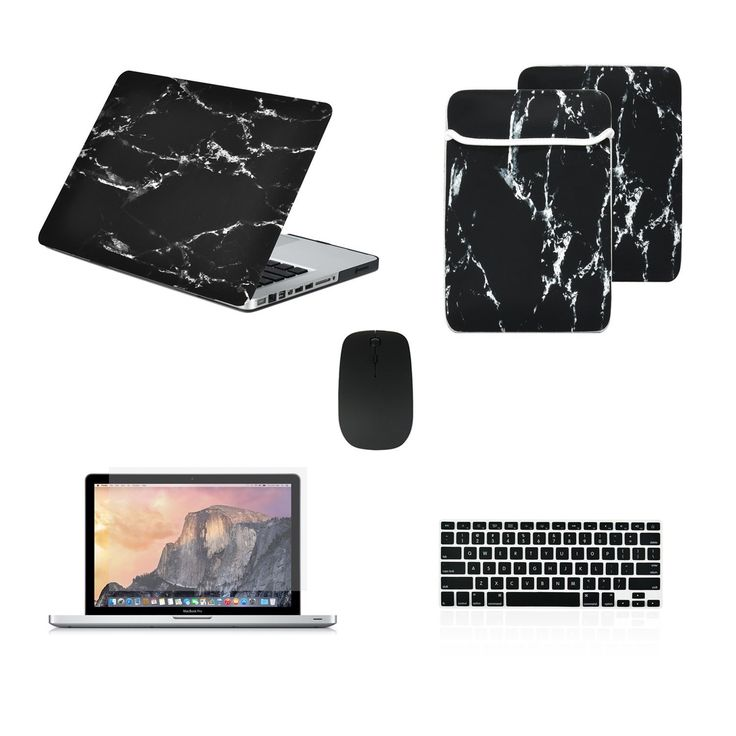 "TOP CASE Marble 5 in 1 – Macbook Pro 13"" Matte Case + Sleeve + Mouse + Keyboard Skin +LCD - BLACK"