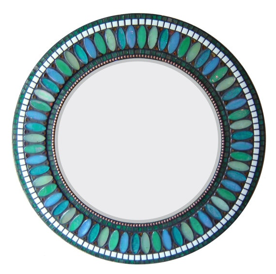 Round Mosaic Mirror Teal Blue Sea Green 21 by opusmosaics on Etsy, $210.00