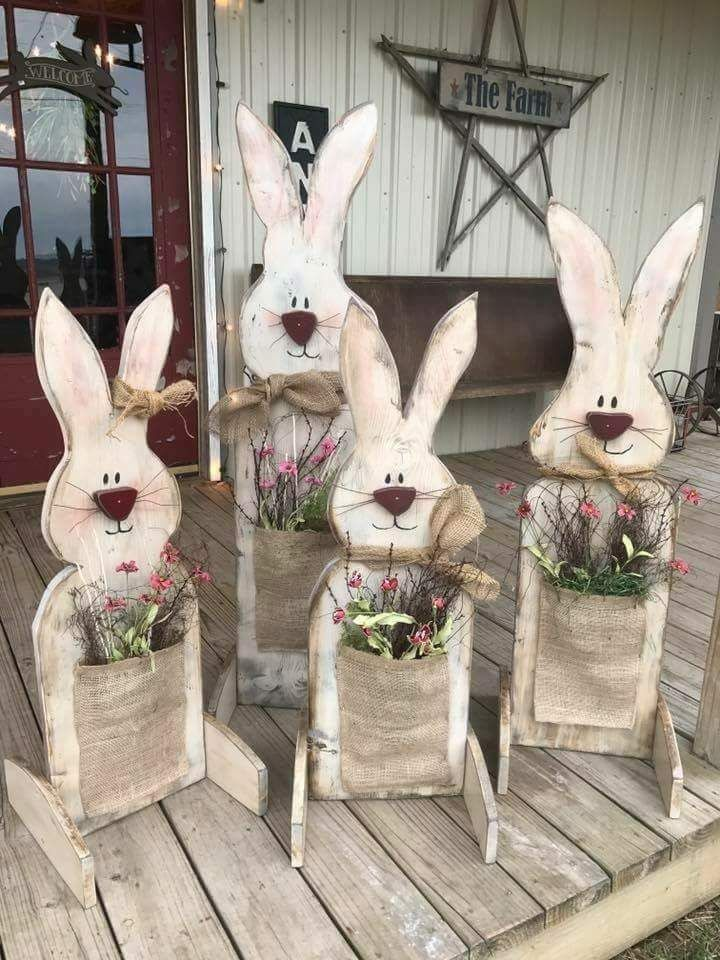 Wood Easter Bunny Porch Decorations Easter Outdoor Easter Porch Decor Easter Diy