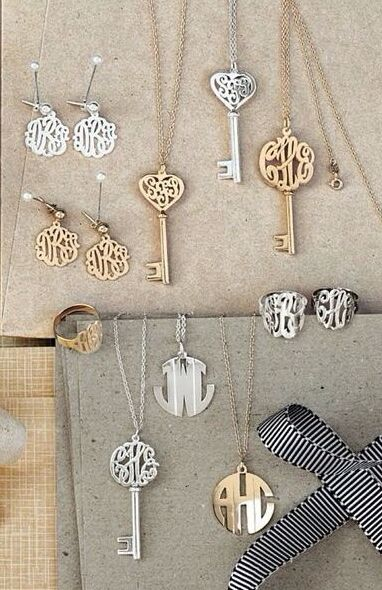 Personalized jewelry. Love the skeleton key necklace!