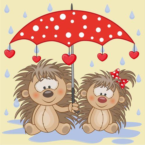 Cute animals and umbrella cartoon vector 09
