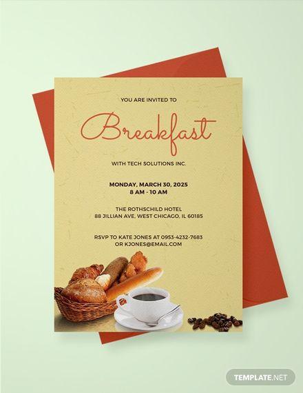 Free Company Breakfast Invitation Divine Business Invitation