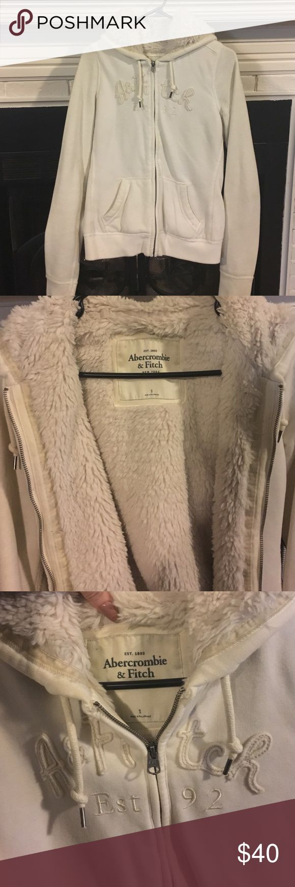 Womens Small Abercrombie & Fitch Fur Zip up Hoodie Womens Small, Cream color, soft fur inside. Great condition. Abercrombie & Fitch Tops Sweatshirts & Hoodies