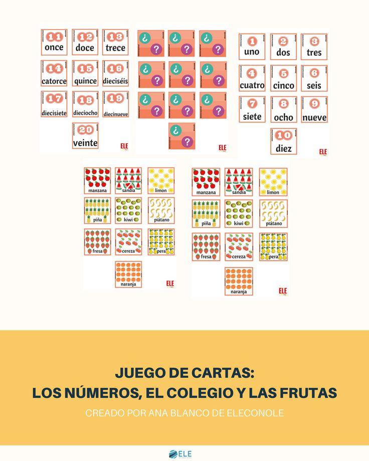 NUEVO IMPRIMELE     ¡Juego para aprender los números del 1 al 20 y más vocabulario de ELECONOLE!     http://www.eleinternacional.com/los-numeros-el-colegio-y-las-frutas/