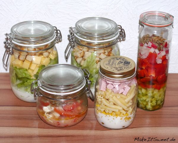 Salat im Glas fuer eine Woche Erfahrungsbericht Vorbereitungen Information Zubereitung richtig Schichten