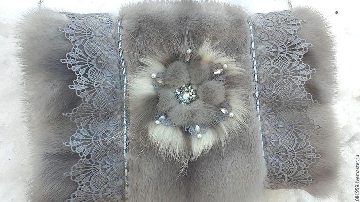 Купить Сумочка-муфта - серый, однотонный, муфта для рук, сумочка ручной работы, меховая накидка